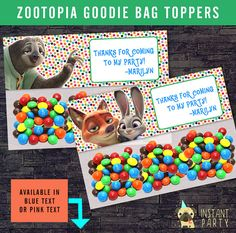 ZOOTOPIA Goodie Bag Topper / Favor Bags - Personalized with your Info - You Print