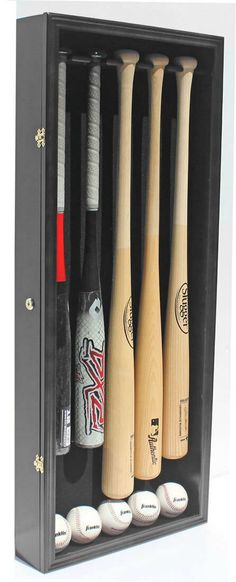 Pro+UV+5+Baseball+Bat+Display+Case+Holder+Wall+Cabinet+Shadow+Box+d33 Baseball Bat Display, Display Case, Shadow Box, Solid Wood, Display Cabinets, Woodworking, Bats, Cubes, Wall Mount