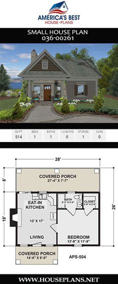Small House Plan Could you live in a tiny house? Plan features a 514 sq. Small home design with 1 bedroom, 1 bathroom, an open floor concept, and two covered porches. 1 Bedroom House Plans, Guest House Plans, Small House Floor Plans, Beach House Plans, Tiny Cottage Floor Plans, Small House Plans Under 1000 Sq Ft, Two Bedroom Tiny House, Sims 4 House Plans, Small House Living