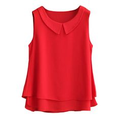 2018 Summer Top Women Chiffon Blouse Shirts Casual Tops Plus Size Female Loose Sleeveless Thin And Light Blusas Finas Mode Outfits, Fashion Outfits, Fashion Clothes, Clothes Women, Dress Fashion, Fashion Ideas, Peter Pan, Chiffon Shirt, Sleeveless Shirt