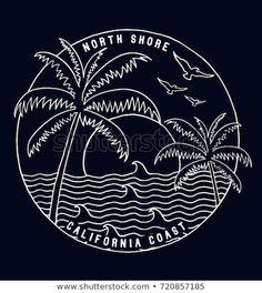 California vector illustration for t-shirt and other usesvector Surf Logo, Beach Illustration, Typography Poster Design, Retro Logos, Vintage Logo Design, Art Drawings Sketches, Surf Art, Tee Design, Design Reference