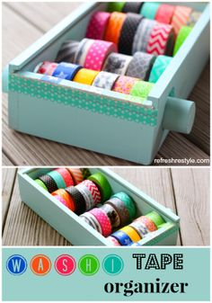 Build your own DIY wash tape organizer using an upcycled wooden box, dowel, and a few simple tools.  Great way to organize your craft supplies! ~by reFresh reStyle  Part of Operation: Organization at 11 Magnolia Lane