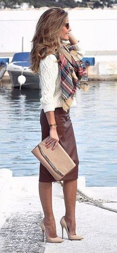 That Skirt! - Brown Leather Maxi Skirt + Printed Scarf                                                                             Source