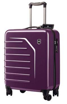 Swiss Army Carry-on in Purple  The Swiss Army Spectra Extra-Capacity Global Carry-on is bold, bright, and glossy. Guaranteed nobody will miss you gliding this trolley through the airport. ($329.99)