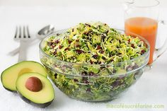 California Avocado & Shaved Brussels Sprout Salad w/ Honey-Ginger Vinaigrette