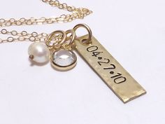 14 Karat Gold Filled Tag Necklace with Date, Personalized Jewelry, Christmas Gifts, Wedding Jewelry, Bridal Gifts, Mothers Necklace by MissAshleyJewelry, $32.00
