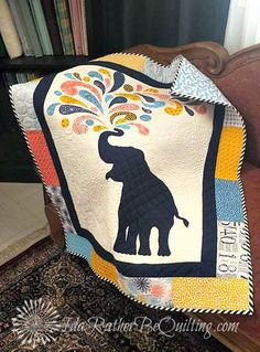 Ida Rather Be Quilting: Poulsen Peanut - an Overdue Finish Elephant Quilts Pattern, Elephant Applique, Baby Quilt Patterns, Baby Girl Quilts, Girls Quilts, Crib Quilts, Quilt Baby, Easy Quilts, Mini Quilts