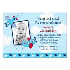 Aeroplane Aviator Boy Photo Birthday Invitations