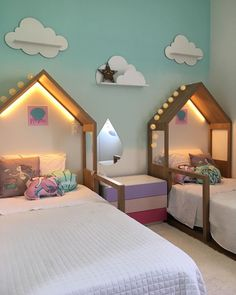 Stylish 51 Fascinating Children Bedroom Design Ideas To Have Asap Twin Girl Bedrooms, Cool Kids Bedrooms, Kids Bedroom Designs, Home Room Design, Kids Room Design, Boy And Girl Shared Room, Girl Room, Toddler Rooms, Baby Boy Rooms