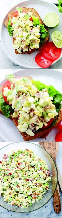AVOCADO EGG SALAD - appetizer, avocado, bacon, cream, fresh, healthy, lime, pepper, recipes, red pepper, sandwich, yogurt