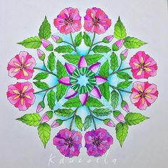 "A Flower Mandala from ""Nature Designs Colouring Book"" #flowers #flowermandala #dualbrush #tombowusa #tombow #adultcoloring #adultcoloringbook #becreative #coloringbook #coloring #design #drawing #nature #naturedesign #mandala #mandalaart #mindfulness #pattern #livrodecolorir #jeneanmorrison #zen #goodvibes #zendala"