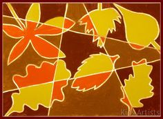 Kids Artists: Autumn leaves in cubist style.  Worked well.  6 students: 4, 7, 7, 9, 11, 11.  Definitely read instructions, our lines weren't as spread out but still turned out well.  We used glitter glue for outlines instead of gold marker, really liked it.