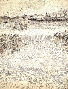 Vincent van Gogh: Wheat Field with Sheaves and Arles in the Background,  Arles: 31 July-6 August 1888 (Private collection)  F 1490, JH 1529