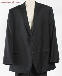 Ralph Lauren OUTLET PRICE  Mens Black 2 Button Suit Jacket Blazer Coat sz 48 L #RalphLauren #TwoButton
