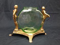 Vintage Art Deco Fish Bowl Stand with Original Vaseline Bowl Spirit of The Ni | eBay