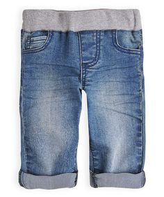 Loving this Blue Mid-Wash Knit Waistband Jeans on #zulily! #zulilyfinds
