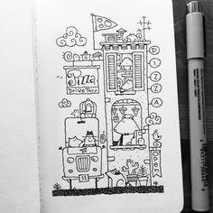 Dave Garbot — The Drive Thru #illustration #drawing #penandink...
