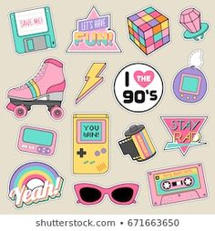 stickers Set of fashion patches, cute pastel badges, fun icons vectorin retro concept Tumblr Stickers, Diy Stickers, Printable Stickers, Laptop Stickers, Planner Stickers, Scrapbook Stickers, Aesthetic Stickers, Sticker Design, Doodle Art