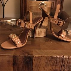 "Retail $295 Tory  Burch ""Luisa"" Sexy heels Tory Burch royal tan leather w/ gold hardware . Stacked 4 inch heel. Beautiful condition. Worn once indoors.  Gold accents. Dust bag and box included.  You will love these, photos do not do them justice. Buckle strap. Excellent ""like new"" condition. Tory Burch Shoes Heels"