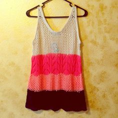 Summer Knit Tank Perfect lightweight tank for summer. Wear over a swimsuit or with a bandeau. Size medium, will fit nicely on a small also. Loose fit. Color: Light tan, vibrant pink, light pink & navy blue. Maurices Tops Tank Tops