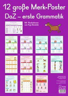 12 große Merk-Poster DaZ – erste Grammatik