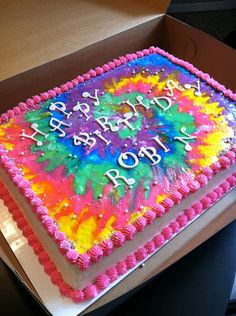 It is made completely out of buttercream! I used the FBCT to make the tie dye and I think it came out pretty groovy! 9th Birthday Parties, Birthday Fun, Birthday Ideas, Cake Birthday, Hippie Birthday, 19th Birthday, Fancy Cakes, Cute Cakes, Tye Dye Cake