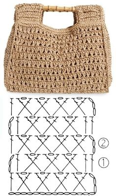 Crochet bags with stitch chart gráfico Facing The Sea Crochet Symbols, Crochet Chart, Crochet Stitches, Knit Crochet, Easy Crochet, Easy Knitting, Knitting Patterns, Crochet Patterns, Crochet Handbags