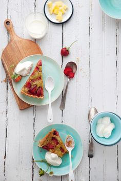 strawberry, pistachio, + brown butter tart