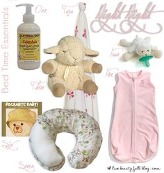 Bed Time Essentials #baby.....hahaha I think I have all of these except the paci thing!