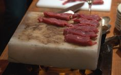 Cooking steak on Himalayan salt block. I just tried this tonight and its amazing! Im gonna buy one