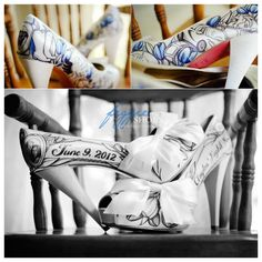 Personalized Wedding Shoe Design by Figgie Shoes. Amazing! I'm on her waitlist to have my shoes painted!!! hope it happens!!