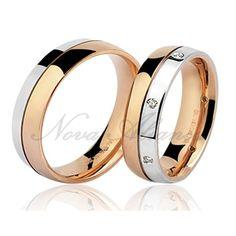 Aliança Ouro Branco e Ouro Rosê com Diamantes - NA514 Love Bracelets, Cartier Love Bracelet, Bangles, Wedding Rings, Engagement Rings, Jewelry, Wedding Bands, Gold Wedding Rings, Jewels