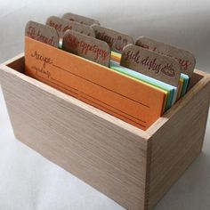 Letterpress Recipe Cards and Recipe Box par 1canoe2 sur Etsy, $ 46,00