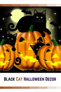 2016-black-cat-halloween-decor Despite the folklore and superstition around black cats I absolutely love them. Year around but especially on Halloween. This is why I love to use creepy, spooky and wicked Halloween black cat home décor. You will find all kinds of creepy kitty cat decorative accents from black accent pillows to inflatable black cats to even some cute black and cat and witch décor.