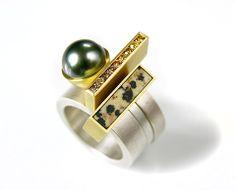 Katzie Hughes, Ring - silver, 750 gold, Tahitian pearl, diamonds, spotted jasper.