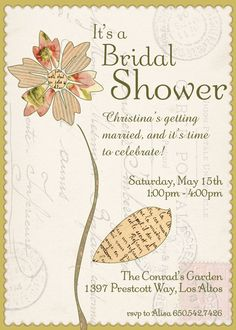 La Fleur Garden Shower, Bridal Shower or Garden Party Invitations. $16.00, via Etsy.