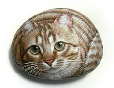 Original Hand Painted on Rock Beautiful Ginger Cat!