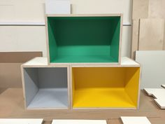 Colourful formica box shelves for funky kitchen