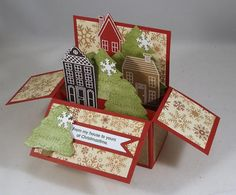 By Clownmom at splitcoaststampers. CASE'd from Chris Slogar. Village Pop-Up Box Card. See website for more details.