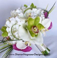 Peony-Tulip-Cymbidium-Green-White-Bright Fuchsia