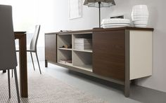 Calligaris Factory smoke finish buffet with a taupe accent color. www.softsquare.com