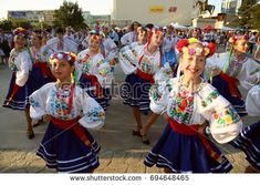 TULCEA, ROMANIA - AUGUST 08: Ukrainian group of dancers in traditional costumes at the International Folklore Festival for Children and Youth - Golden Fish on August 08, 2017 in Tulcea, Romania