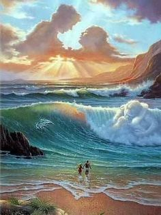 Vladimir Kush: Awesome painting couples up in haven Vladimir Kush, No Wave, Angel Clouds, Wow Art, Surreal Art, Optical Illusions, Amazing Art, Awesome, Fantasy Art
