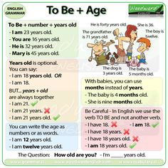 How to say your age in English. TO BE + number + years old.