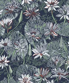 The wallpaper pattern Näckros from Engblad & Co Näckros from Arkiv Engblad is a blue green dark wallpaper in floral traditional style