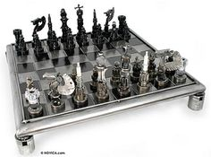 Chess board and pieces made from recycled auto parts! Very creative!