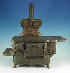 Antique Miniature ECLIPSE STOVE CO.Cast Iron Coal Cook Stove Salesman Sample Toy