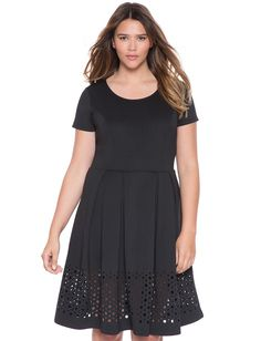 Plus Size Studio Laser Cut Fit and Flare Dress From The Plus Size Fashion At www.VinageAndCurvy.com