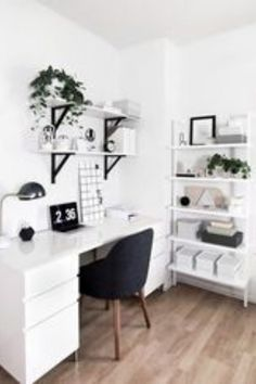 50 Home Office Design Ideas That Will Inspire Productivity - Office Desk - Ideas. 50 Home Office Design Ideas That Will Inspire Productivity – Office Desk – Ideas… 50 Home-Of Study Room Decor, Room Ideas Bedroom, Office In Bedroom Ideas, Bedroom Ideas For Small Rooms, Decor Room, Bedroom Inspo, Makeup Room Decor, Modern Room Decor, Diy Bedroom