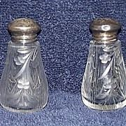 Early Engraved Blown / Molded Glass Lead Crystal Salt & Pepper Shakers with Sterling .